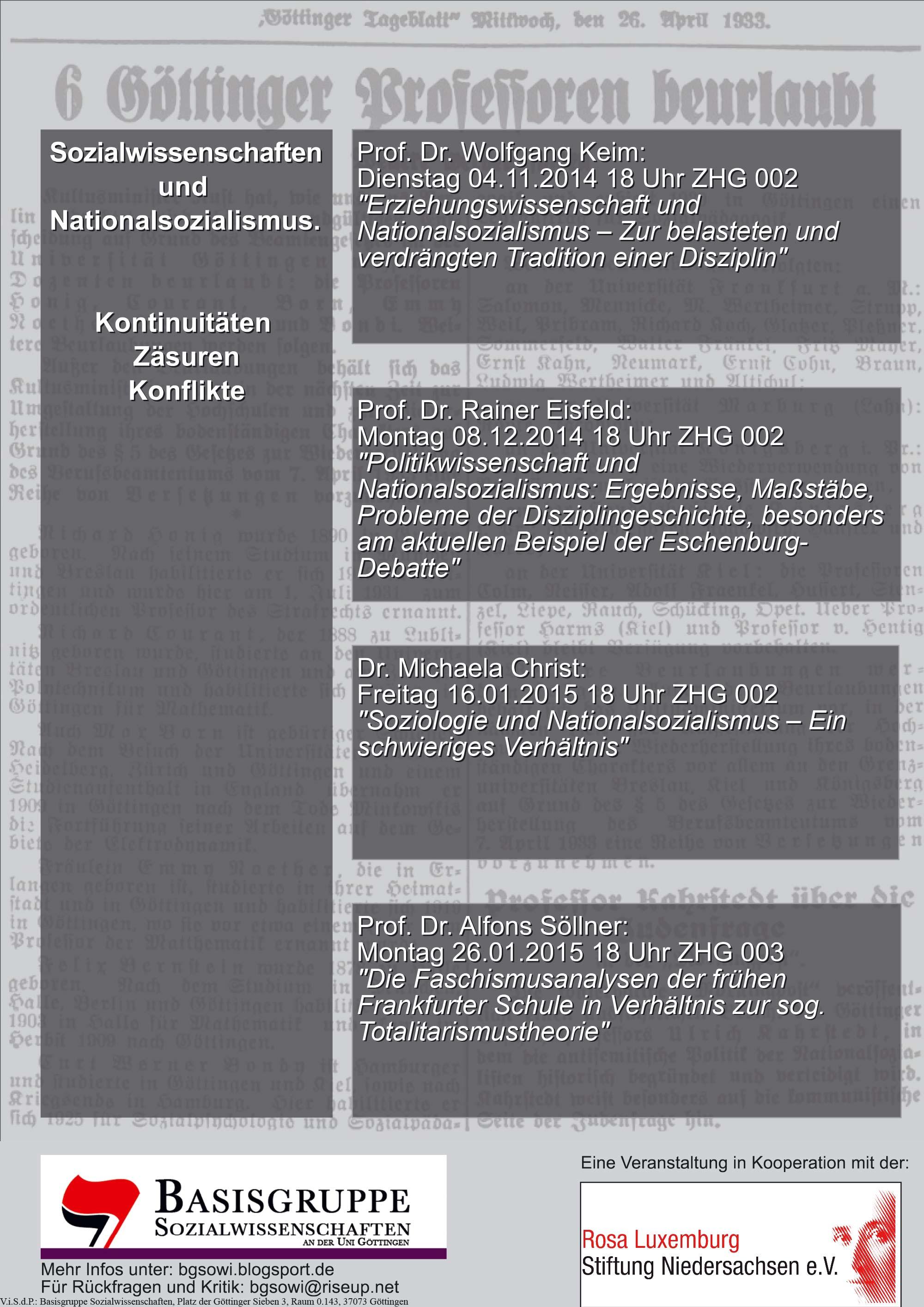 Sozialwissenschaften und Nationalsozialismus WiSe 2014/2015 Plakat